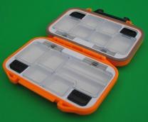 Коробка для мормышек и крючков №6 2-сторонняя автомат (6+6 отделений) (115х75х35 мм)