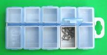 Коробка Aquatech 10 ячеек с крышками (130 x 60 x 13 мм)  для крючков, мормышек и т.п.