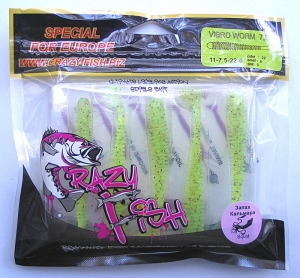 Crazy Fish VIBRO WORM кальмар 7,5см 5шт 11-7.5-22-6