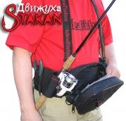 Модульная поясная сумка Stakan Движуха Черный с органайзером для приманок и съёмным держателем удилища.